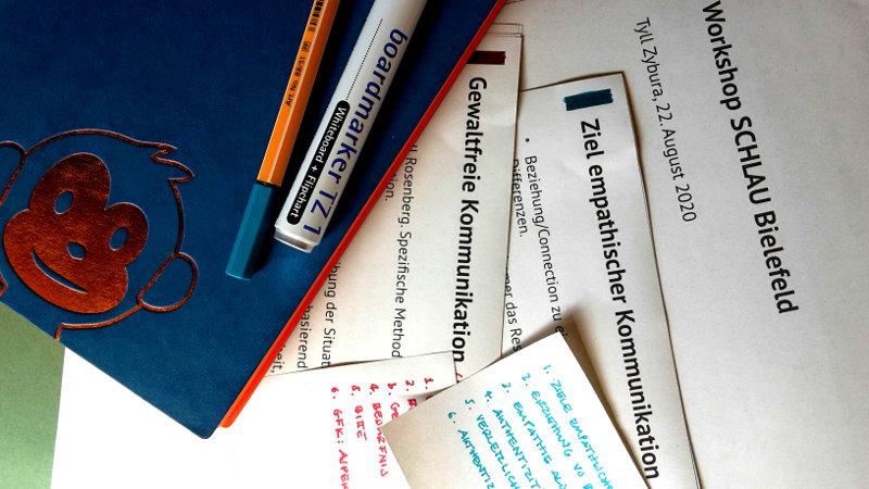 Workshop-Notizen und Flashcards